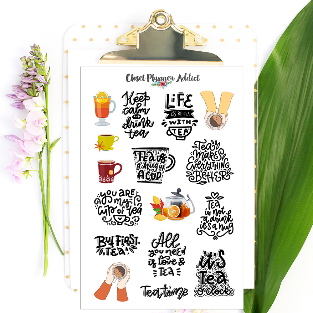 Tea Lover and Quotes Planner Stickers by Closet Planner Addict Version 1 (S-547)