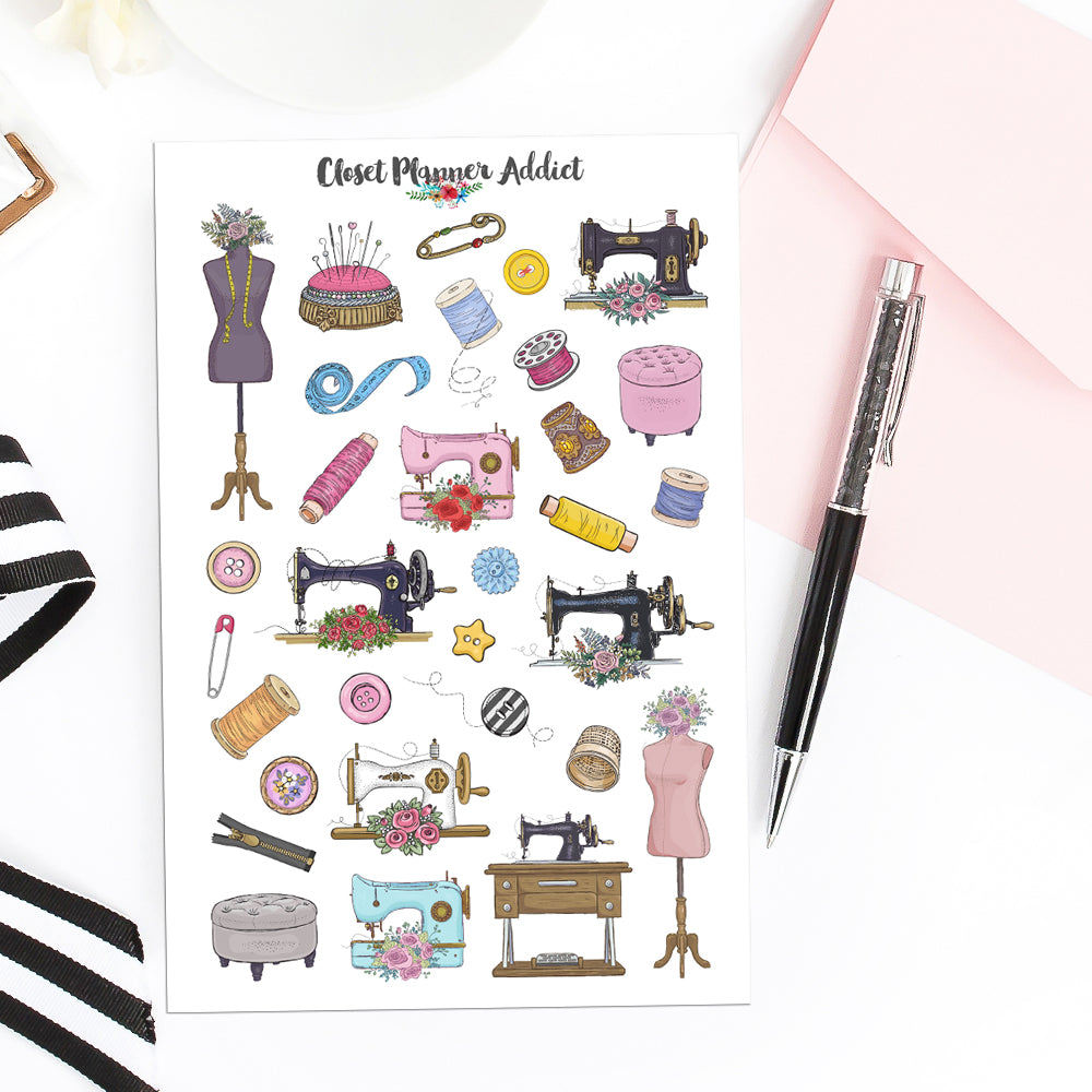 Sewing Machines Planner Stickers | Sewing Tools Stickers by Closet Planner Addict (S-548)