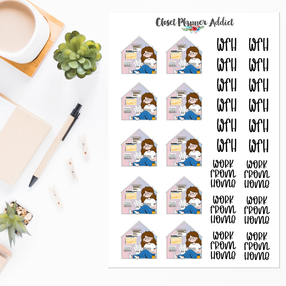 Work From Home Planner Stickers by Closet Planner Addict Version 1 (S-551)