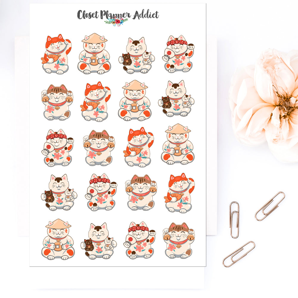 Lucky Cat Planner Stickers by Closet Planner Addict (S-552)