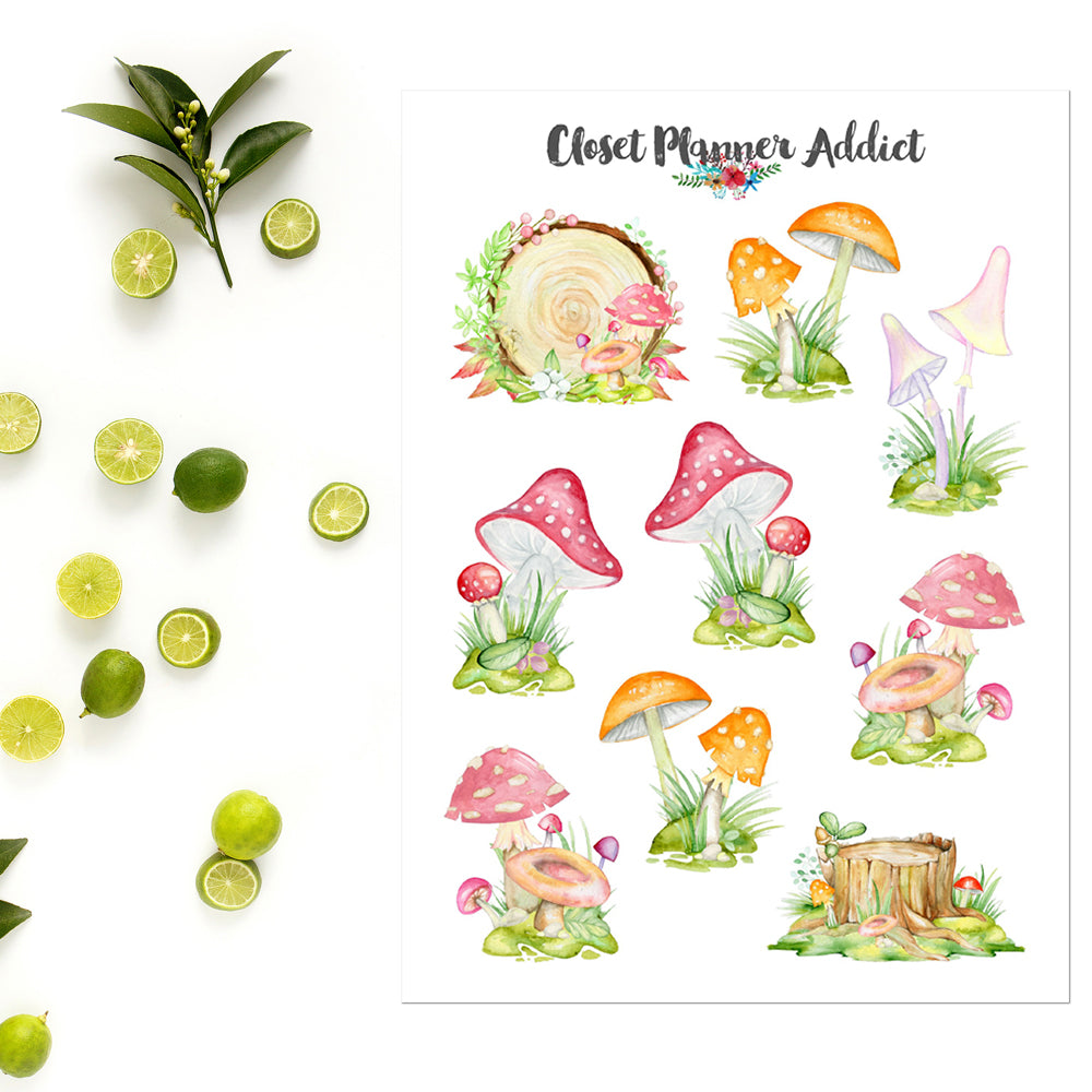 Watercolour Mushrooms Planner Stickers (S-556)