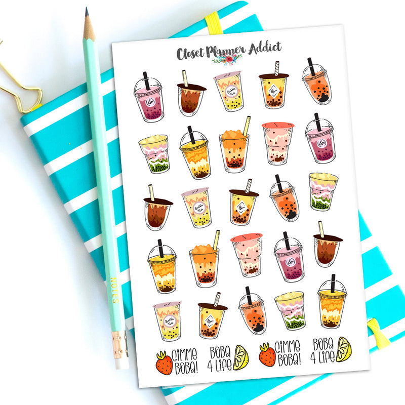 Boba Planner Stickers | Bubble Tea Stickers by Closet Planner Addict (S-559)
