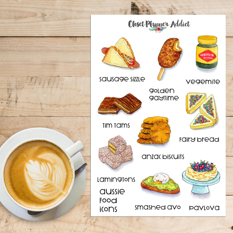 Australian Food Icons Planner Stickers (S-384)