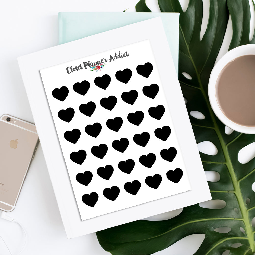 Black Hearts Planner Stickers (S-360)