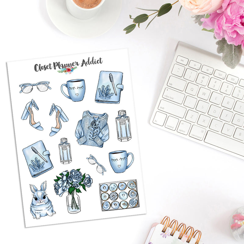 Baby Blue Lifestyle Planner Stickers (S-361)
