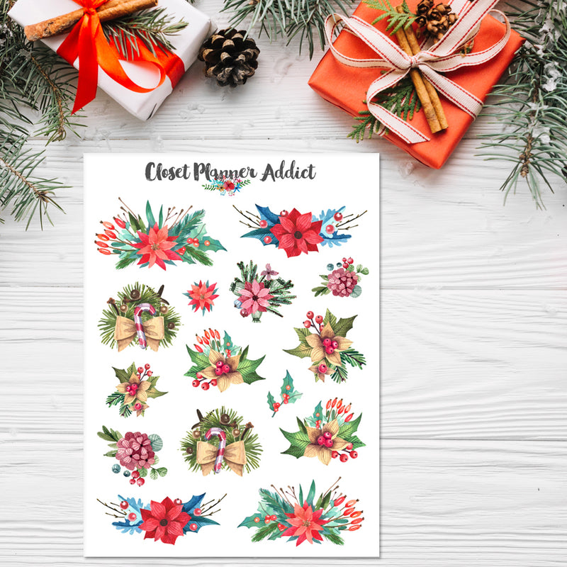 Watercolour Christmas Floral Planner Stickers (S-358)