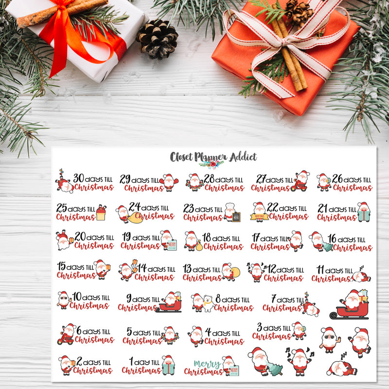Cute Christmas Countdown Planner Stickers (S-350)