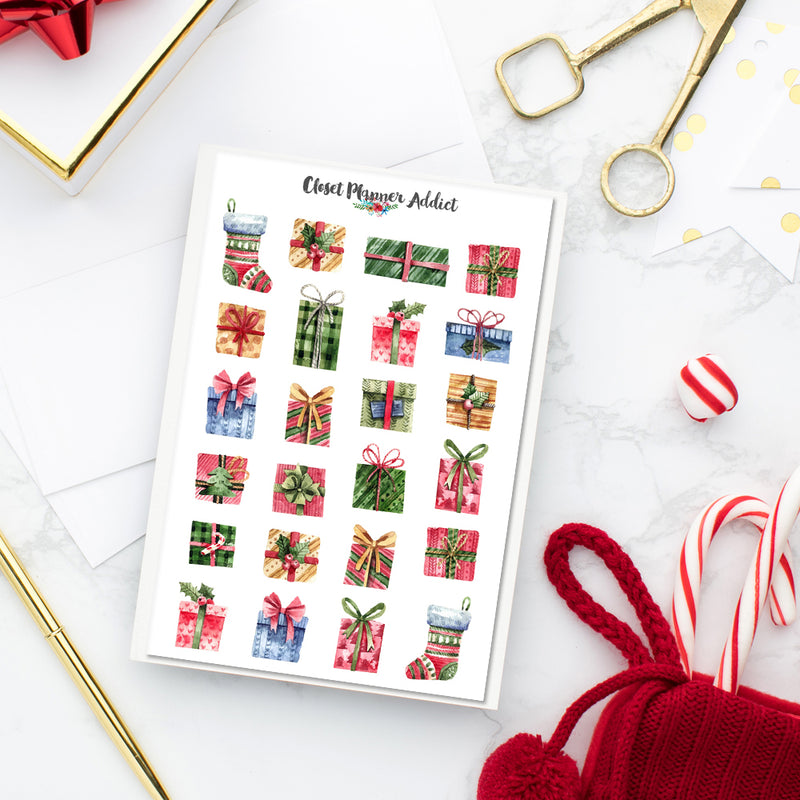 Watercolour Christmas Gifts Planner Stickers (S-357)