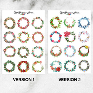 Watercolour Christmas Wreaths Planner Stickers (S-351)