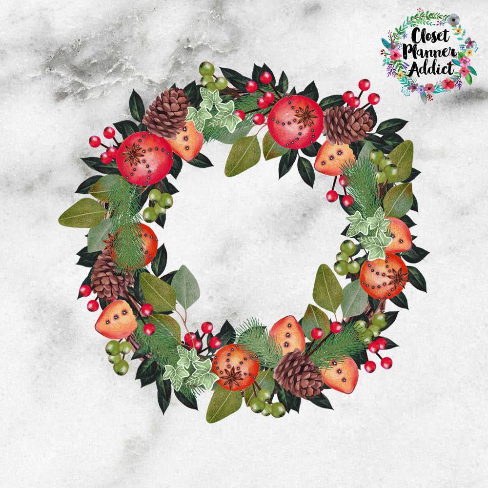 Rustic Wreath Die Cut Stickers (DC-005)