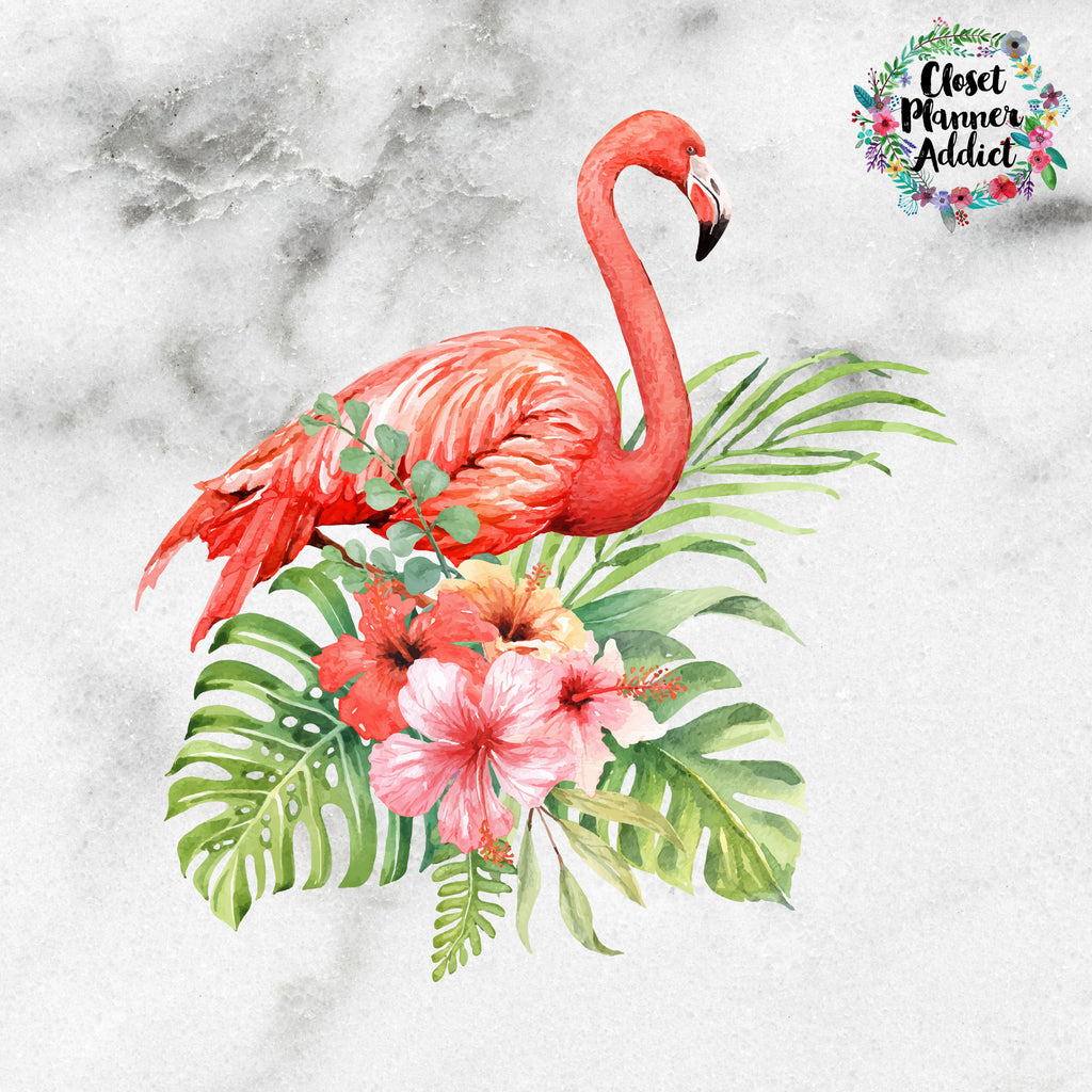 Tropical Flamingo Die Cut Sticker (DC-008)