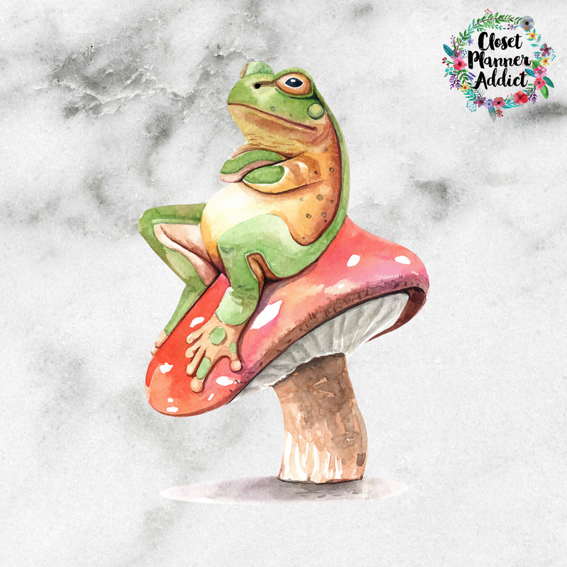Frog on Mushroom Die Cut Sticker (DC-009)