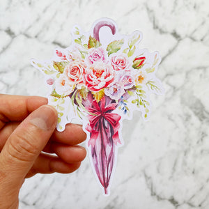 Flowers and Umbrella Die Cut Stickers (DC-012)