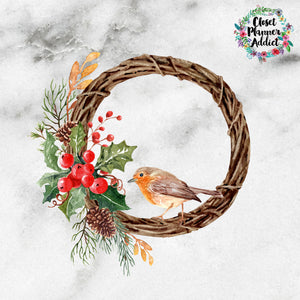 Christmas Finch and Holly Wreath Die Cut Stickers (DC-013)