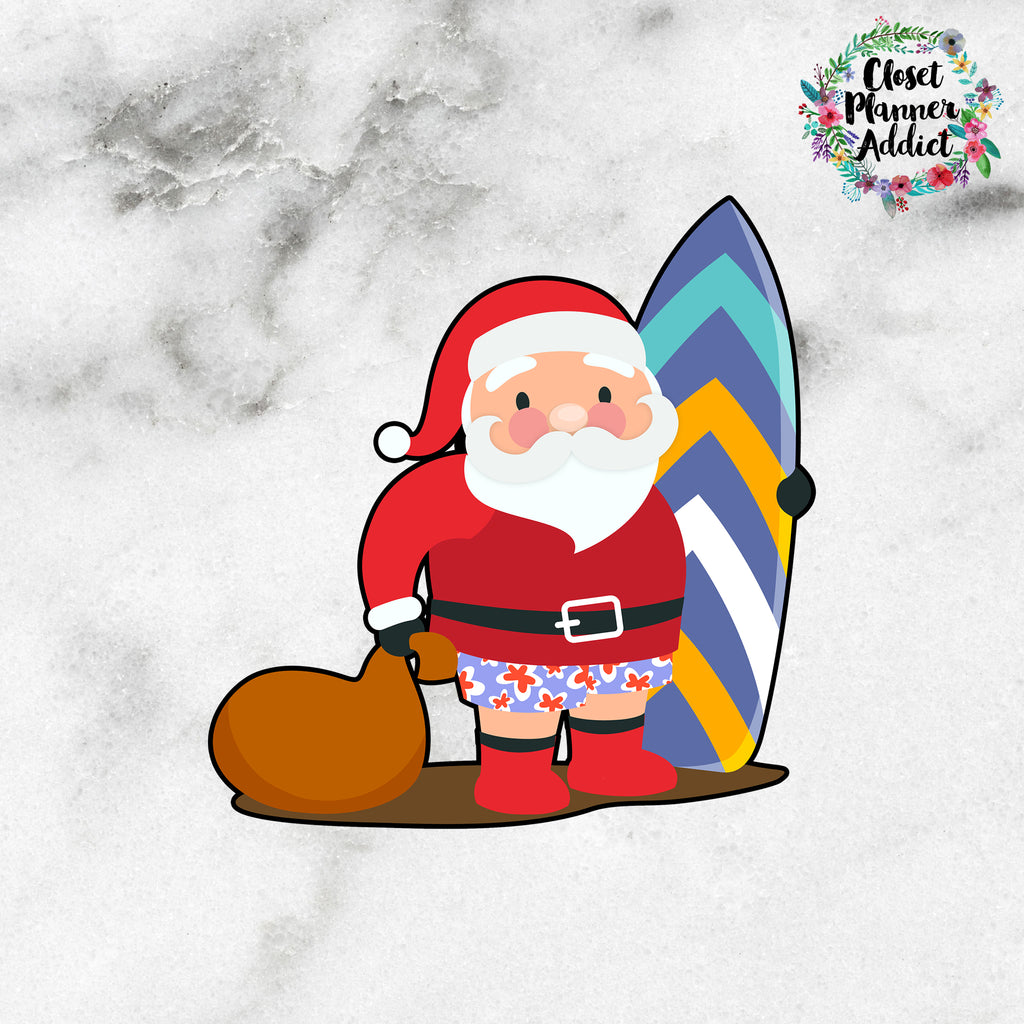 Summer Santa Claus Die Cut Stickers (DC-020)