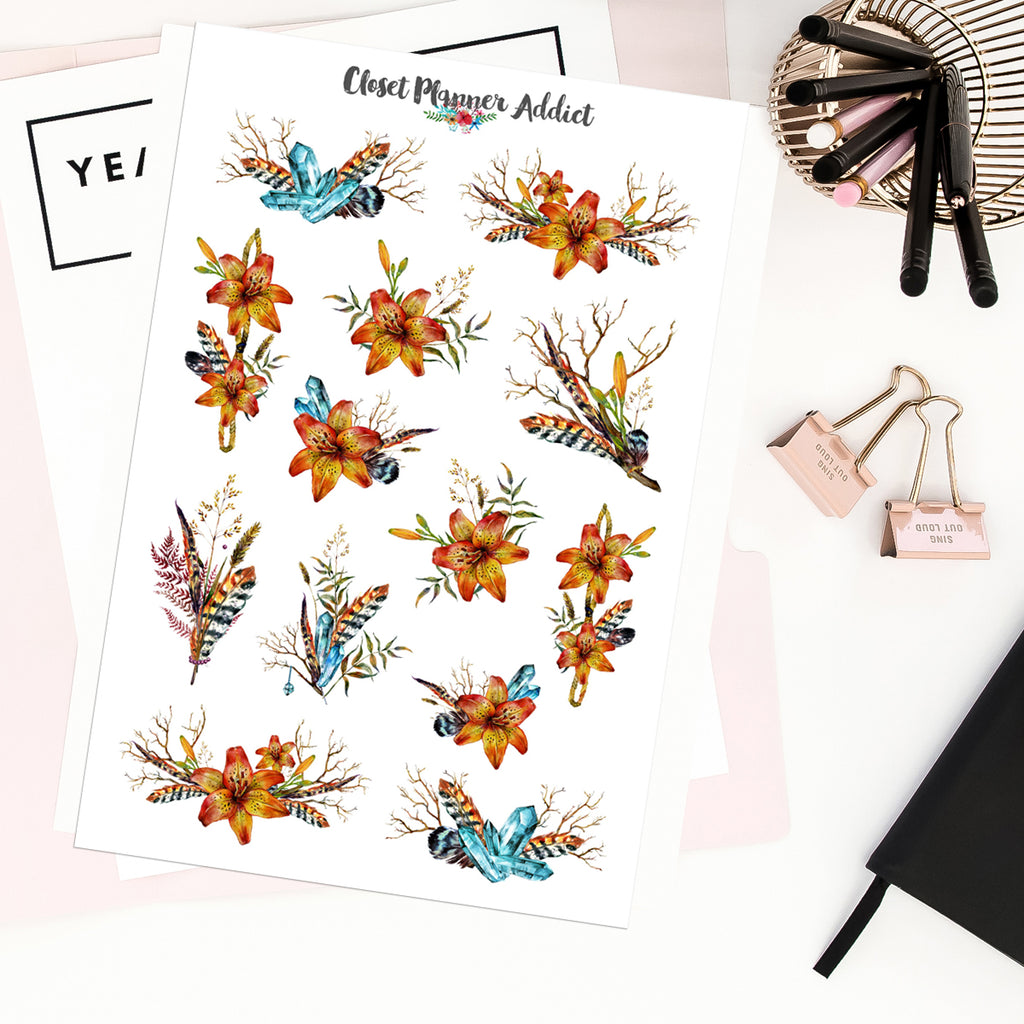 Watercolour Lilies Planner Stickers (MGB-FEB20)