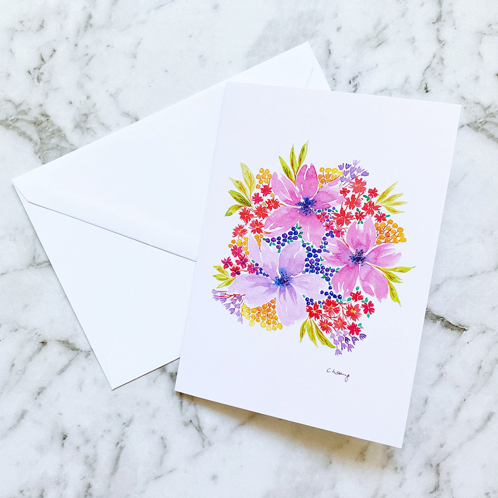 Watercolour Floral Greeting Card | Blank Greeting Card (GC-001)
