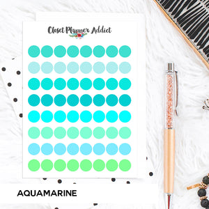 Transparent Tiny Round Label Planner Stickers | Clear Stickers | Clear Labels | Aquamarine (FP-029)