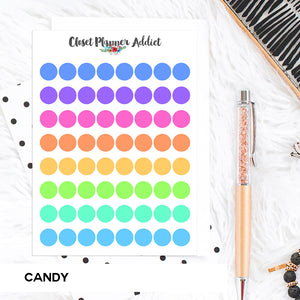 Transparent Tiny Round Label Planner Stickers | Clear Stickers | Clear Labels | Candy (FP-029)