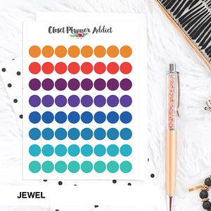 Transparent Tiny Round Label Planner Stickers | Clear Stickers | Clear Labels | Jewel (FP-029)