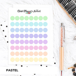 Transparent Tiny Round Label Planner Stickers | Clear Stickers | Clear Labels | Pastel (FP-029)