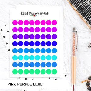 Transparent Tiny Round Label Planner Stickers | Clear Stickers | Clear Labels | Pink Purple Blue (FP-029)