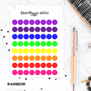 Transparent Tiny Round Label Planner Stickers | Clear Stickers | Clear Labels | Rainbow (FP-029)
