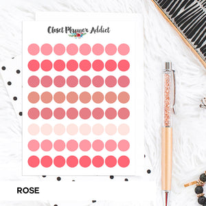 Transparent Tiny Round Label Planner Stickers | Clear Stickers | Clear Labels | Rose (FP-029)