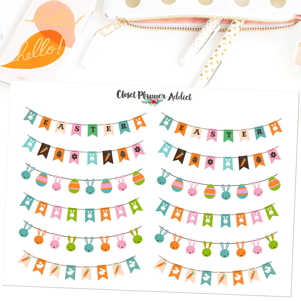 Easter Flags and Buntings Planner Stickers (FP-032)