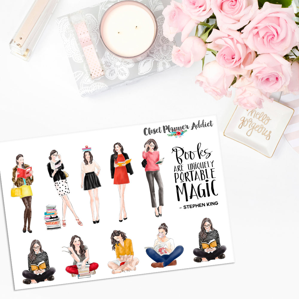 Ladies Reading Planner Stickers (S-364)