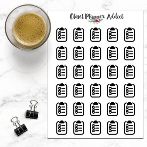 Checklist Clipboard Icons Planner Stickers (I-004)