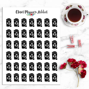 Recycling Bin Icon Planner Stickers (I-019)