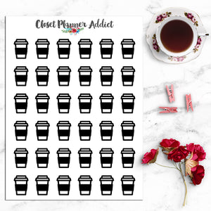 Coffee Takeaway Icons Planner Stickers (I-023)