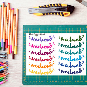 Rainbow Weekend Brush Script Planner Stickers (FP-002)