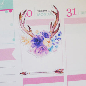 Watercolour Purple Flowers Planner Stickers (S-146)