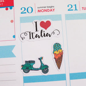 I Love Italy Travel Planner Stickers (S-162)