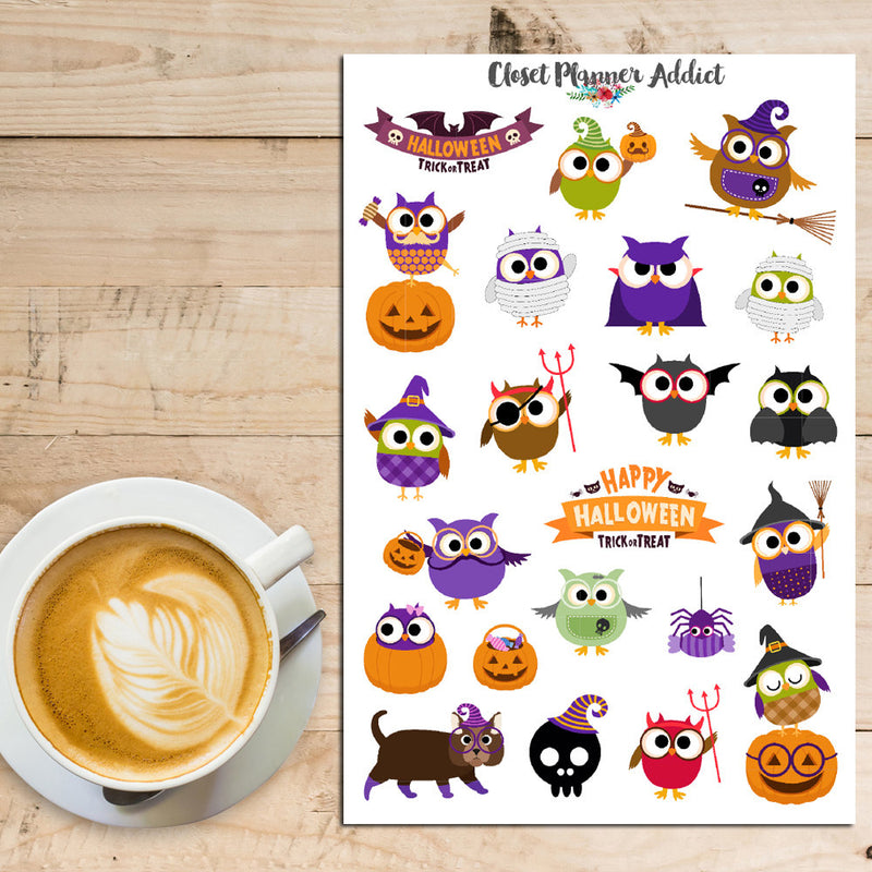 Cute Halloween Owls Planner Stickers (S-168)