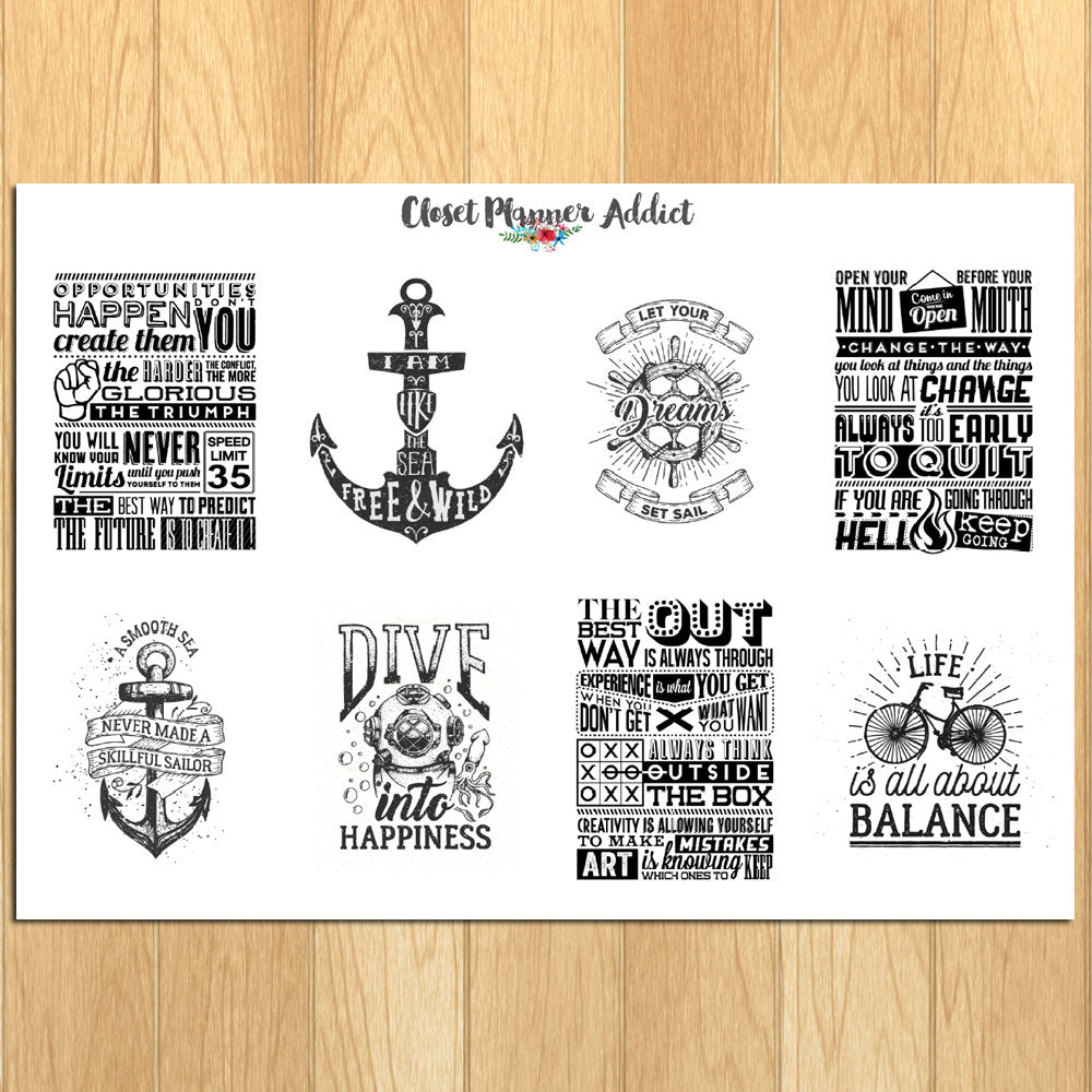 Motivational & Inspirational Quotes Planner Stickers (MS-011)