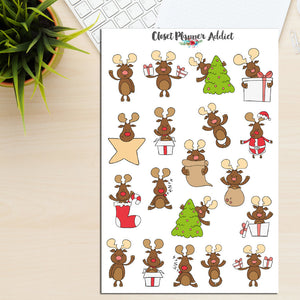 Cute Christmas Reindeer Planner Stickers (S-176)