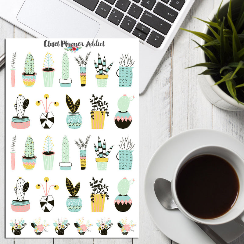 Potted Plants Planner Stickers (S-181)