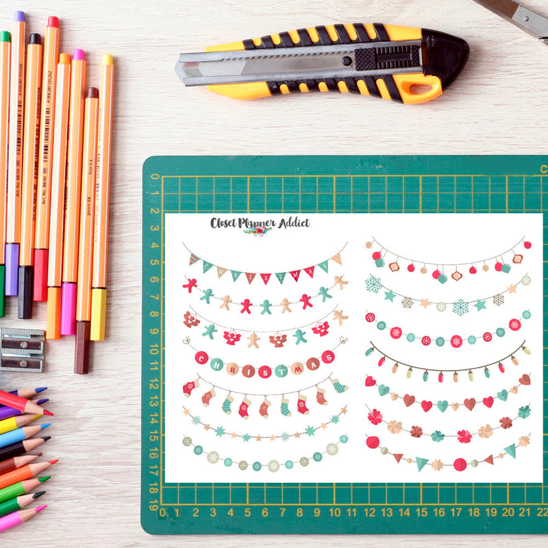 Christmas Celebration Banners Planner Stickers (FP-004)