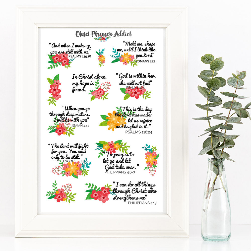Christian Bible Verses and Scriptures Planner Stickers (MS-009)
