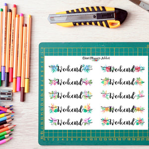 Tropical Floral Weekend Planner Stickers (FP-003)