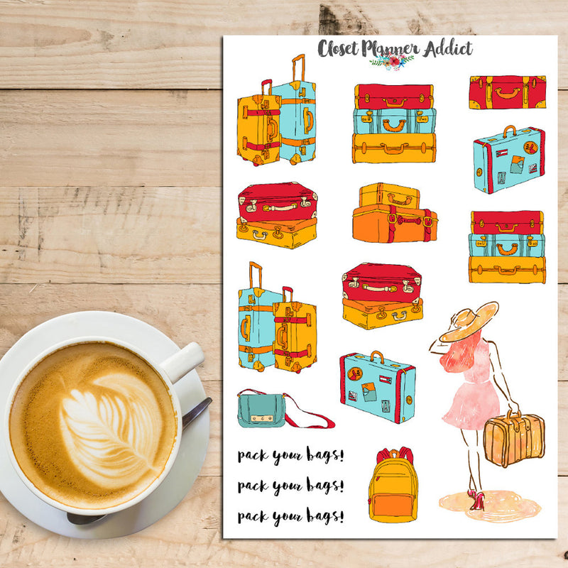 Travel Luggage Planner Stickers (S-161)