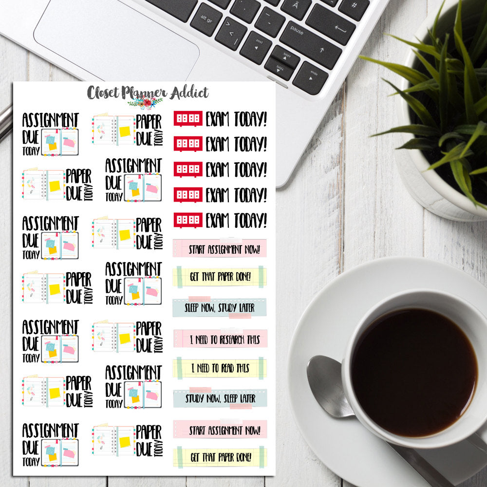 School and College Assignments Planner Stickers (S-193)