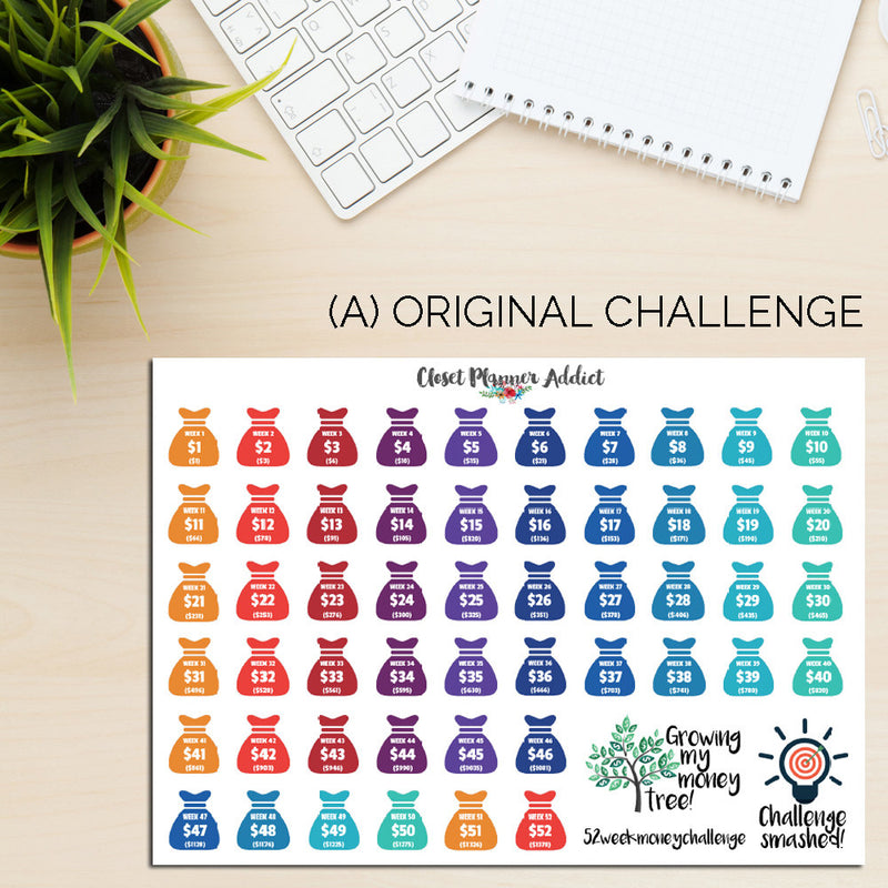 52 Week Money Challenge Planner Stickers | Reverse Money Challenge Version (S-196)