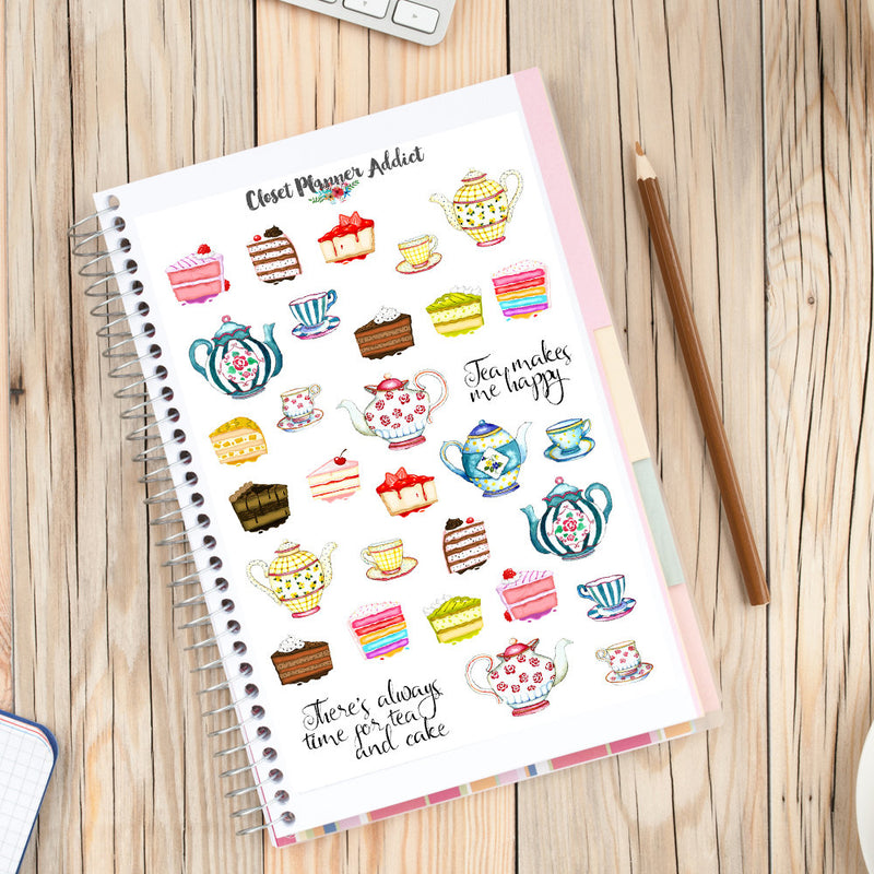 Watercolour Tea Time Planner Stickers (S-172)