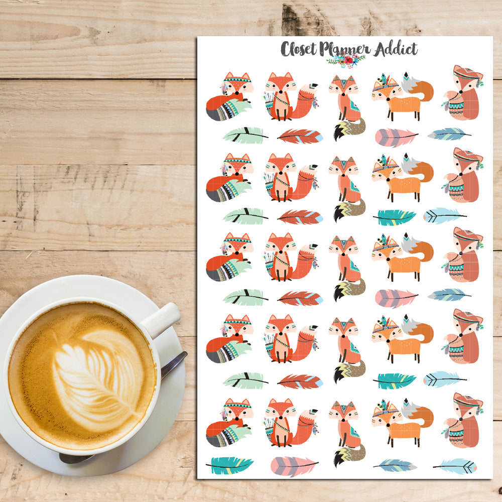 Cute Foxes Planner Stickers (S-182)