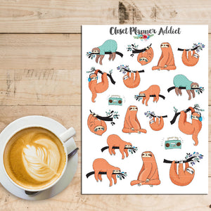 Sleepy Sloths Planner Stickers (S-186)