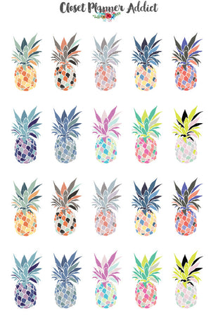 Colourful Pineapples Planner Stickers (S-137)